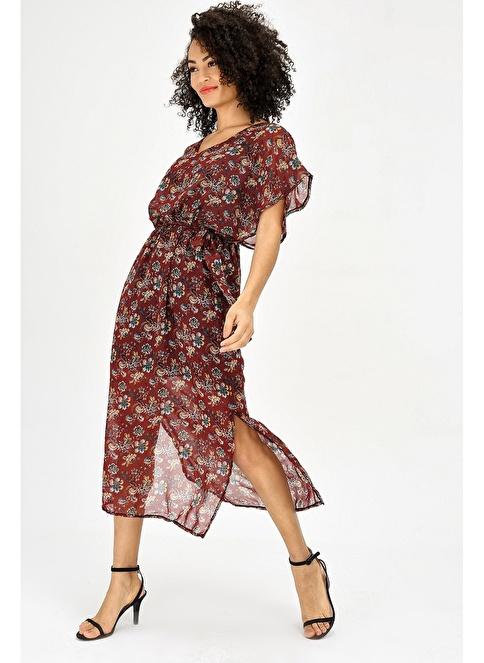 19deabc7febbf Jument Kadın Şifon V Yaka Yarasa Salaş Beli Lastikli Elbise Bordo D.  İndirimli Fiyat | Morhipo | 24130921